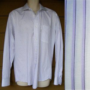 FACONNABLE Dress Shirt, L 2/15, Purple Stripes